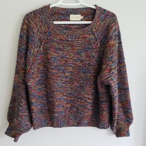 Dreamers Multicolor Rainbow Knit Crewneck Sweater